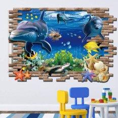 Decal dán tường Cá Heo 3D – AY9706 – Decal nguyên miếng
