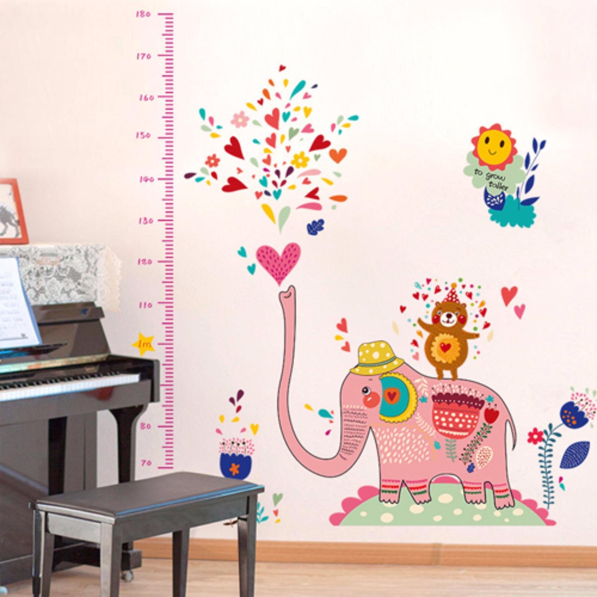 Decal dán tường thước đo voi phun nước cho bé SK9036
