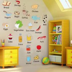 Decal dán tường từ vựng tiếng anh về các loại thực phẩm cho bé AM7090