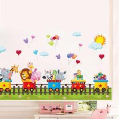 Decal trang trí dán tường đoàn tàu động vật vui vẻ cho bé AM7123