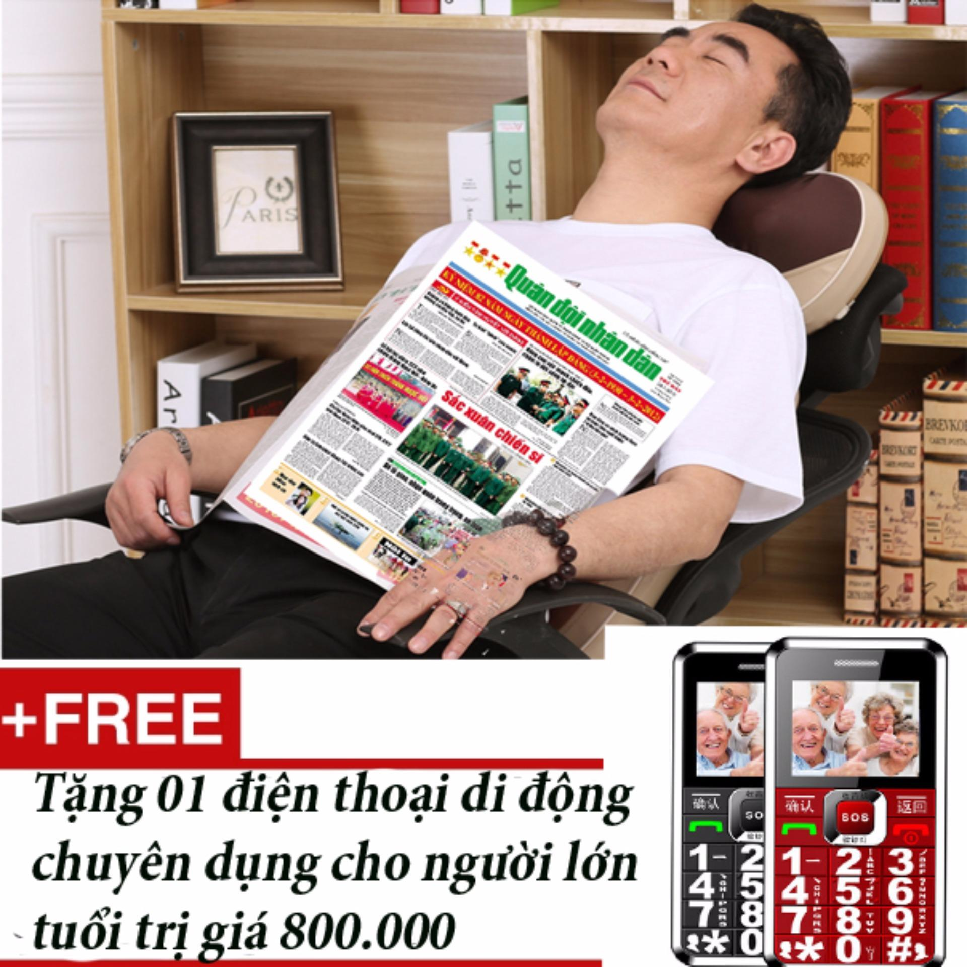 Đệm ghế massage lưng cổ, cột sống + Tặng 01 điện thoại di động dành cho người lớn tuổi