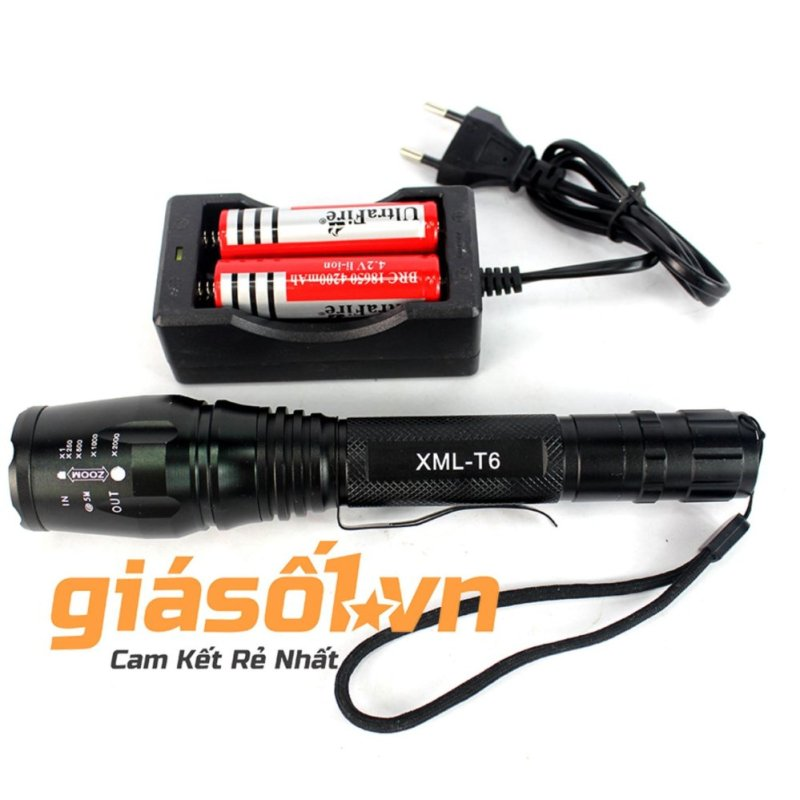 Bảng giá Mua Đèn 2 pin siêu sáng chống nước HUOYI HY-T600 (Đen)