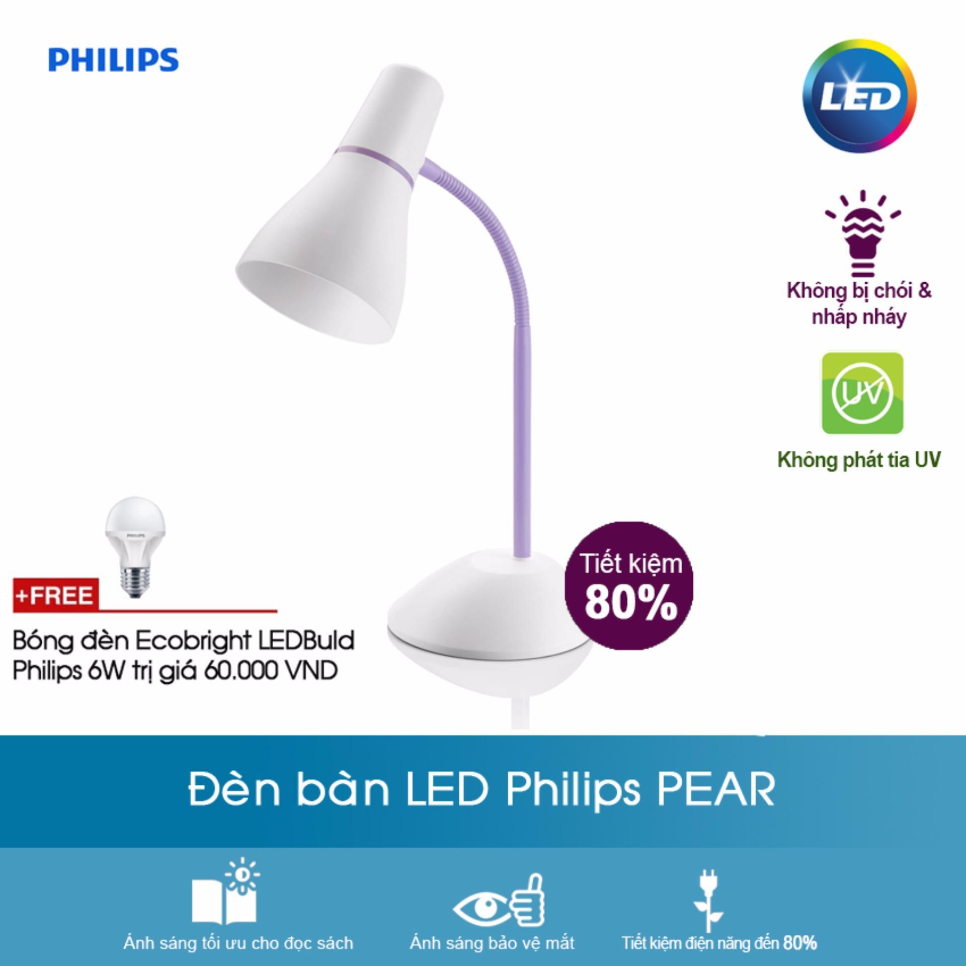 Đèn bàn Philips PEAR (Tím) + Tặng bóng đèn Ecobright ledbulb Philips 6W