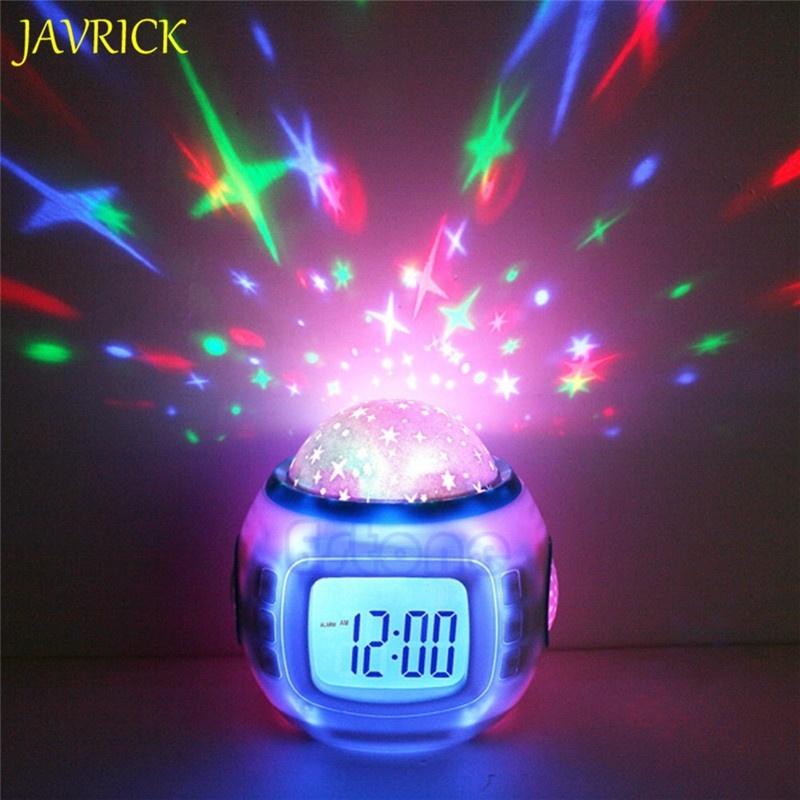 Đèn chiếu sáng phòng ngủ trẻ em kiêm nhạc chuông báo thức, đồng hồ báo thức, đa chức năng - Quốc tế bán chạy