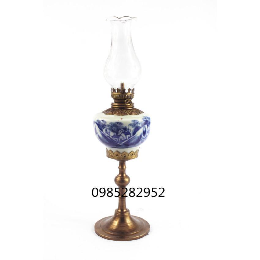 Đèn dầu thờ men lam cổ bọc đồng Bát Tràng-02