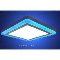 Đèn led nổi ốp trần 24w vuông 2 màu 3 chế độ ánh sáng trắng xanh dương