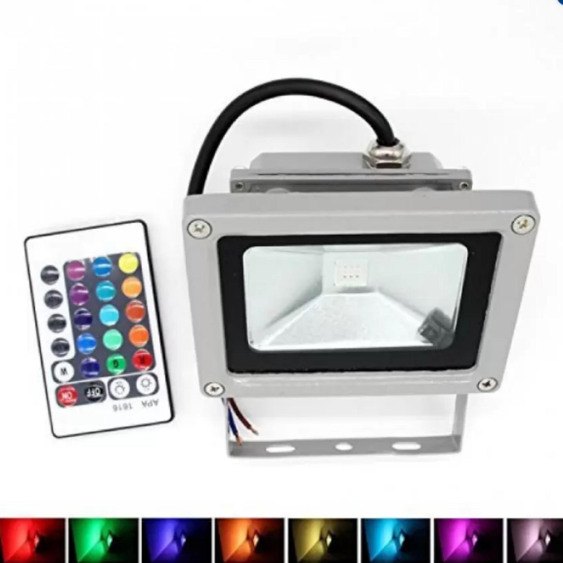 Đèn Led pha Star 10W đổi 7 màu có remote điều khiển (Bạc)