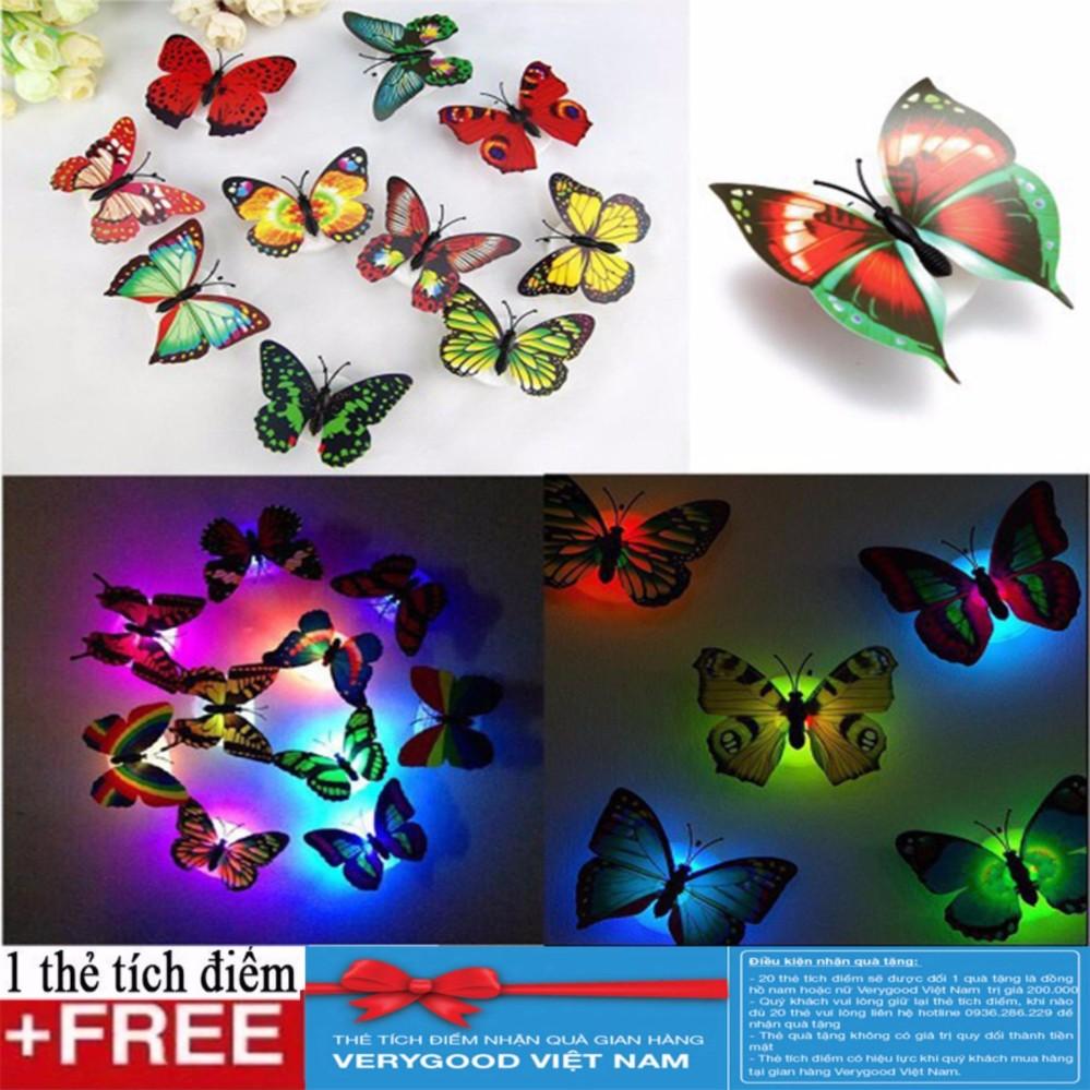 Bộ 2 Đèn led hình bướm + Tặng kèm thẻ tích điểm Verygood