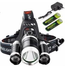 Đèn pin Led siêu sáng đội đầu 3 bóng (Đen) + Kèm hai Pin + Kèm Thêm Sạc- Hàng Nhập Khẩu Loai 1