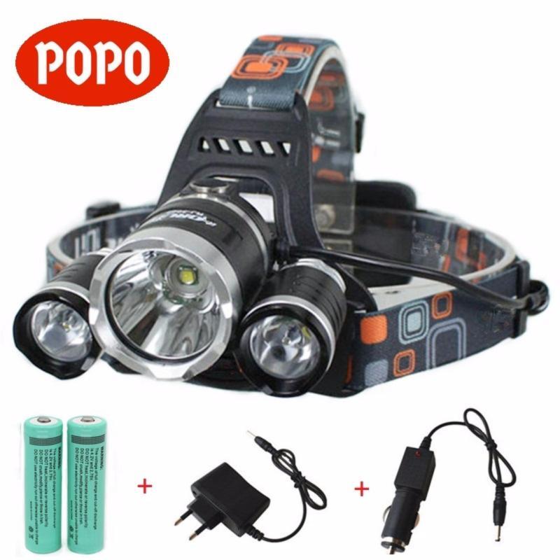 Bảng giá Đèn pin LED đội đầu 3 Bóng XM-L T6 + 2 Pin sạc 18650 + Bộ sạc + FREE Đầu sạc ô tô - POPO Sports