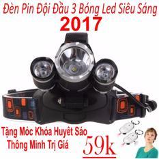 Đèn pin Led siêu sáng đội đầu 3 bóng (Đen) Hàng Nhập Khẩu + Tặng Móc Khoá Huýt Sáo Thông Minh
