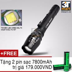 Vì sao mua Đèn pin siêu sáng C'MON POWER TACTICAL XML-T6 LED 10W 2200lm chiếu xa 500m + Tặng 2 pin sạc li-ion 18650 (Đen)