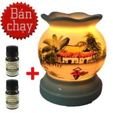 Đèn xông tinh dầu Bát tràng chạy điện MNB1 tặng 2 chai tinh dầu sả chanh Eco oil đuổi muỗi