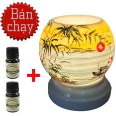 Đèn xông tinh dầu điện gốm MNB9 tặng 2 chai tinh dầu sả chanh Eco oil đuổi muỗi