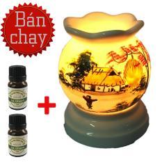 Đèn xông tinh dầu điện vẽ tay MNB03 tặng 2 chai tinh dầu sả chanh Eco oil đuổi muỗi