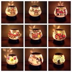 Đèn xông tinh dầu gốm sứ cỡ lớn hoa đào (họa tiết ngẫu nhiên)