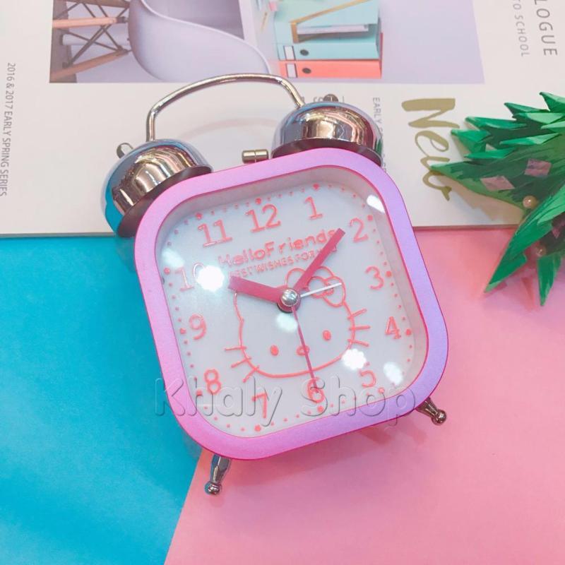 Nơi bán Đồng hồ báo thức hình vuông kiểu dáng Hello Kitty (có đèn led) màu hồng dành cho bạn gái - 180KT7706 - (15x11x5.5cm)