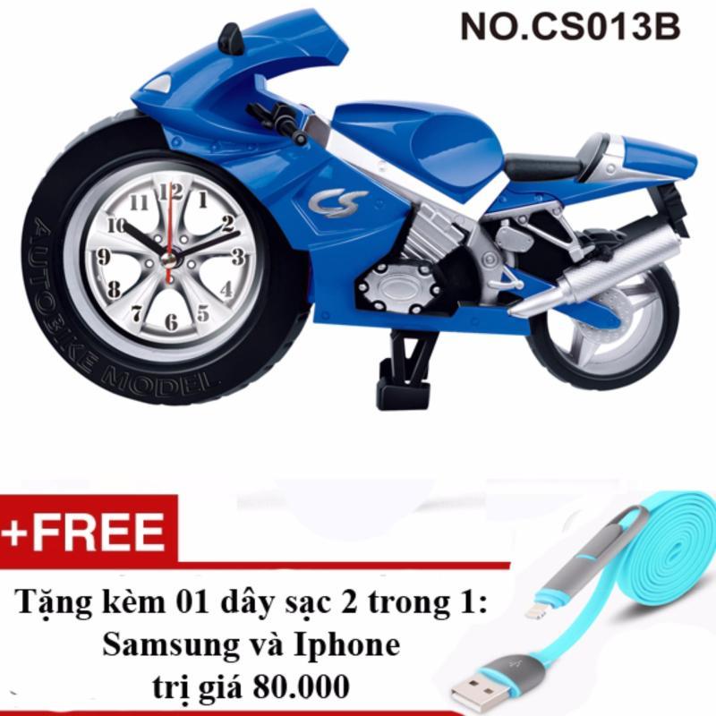 Nơi bán Đồng hồ báo thức hình xe phân khối lớn + Tặng 01 sạc điện thoại 2 trong 1 cho Iphone và Samsung(Vàng)