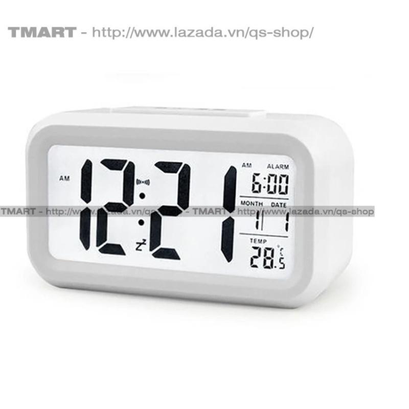 Đồng hồ báo thức kỹ thuật số với đèn LED nền cảm biến đa chức năng LC01 (Trắng) bán chạy