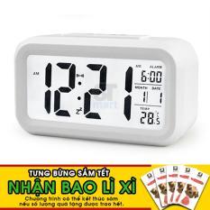 Đồng hồ báo thức kỹ thuật số với đèn LED nền cảm biến đa chức năng: thời gian, lịch, báo thức, nhiệt độ - LC01 (trắng)