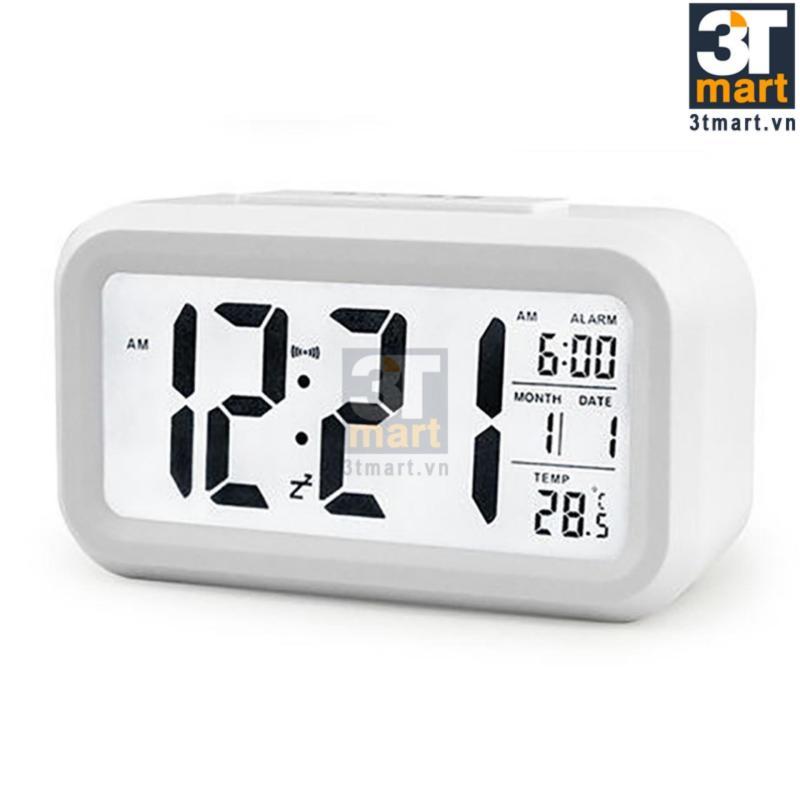 Nơi bán Đồng hồ báo thức kỹ thuật số với đèn LED nền cảm biến đa chức năng: thời gian, lịch, báo thức, nhiệt độ - LC01 (trắng)