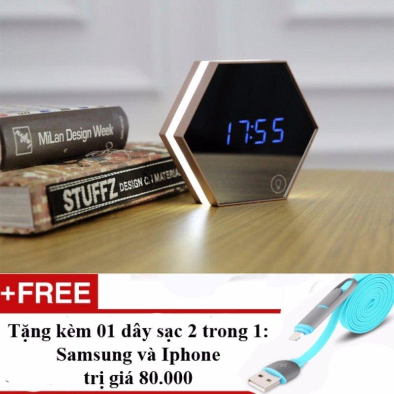 Nơi bán Đồng hồ báo thức4 trong 1 dạng gương soi Model 2017 + Tặng dây sạc điện thoại 2 trong 1 cho Iphone và Samsung(Bạc)
