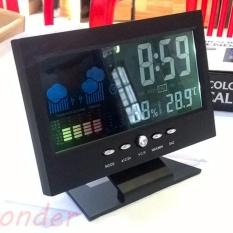 Đồng hồ để bàn LED có lịch ngày đo nhiệt độ & độ ẩm (đen)