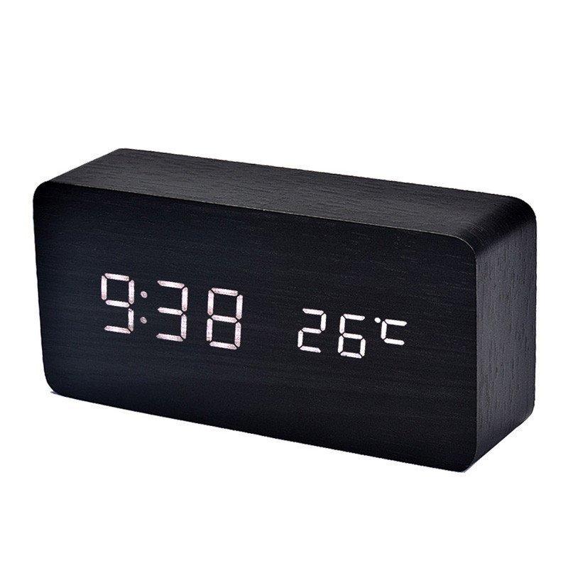 Đồng hồ điện tử báo thức kỹ thuật số để bàn đèn LED kiểm soát âm thanh nhiệt độ (Đen) bán chạy