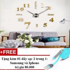 Đồng hồ gắn tường trang trí cho căn phòng sang trọng SE 06 + Tặng dây sạc điện thoại 2 trong 1 cho Iphone và Samsung