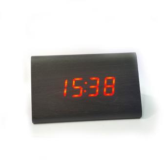 Đồng Hồ Gỗ Báo Thức (Wood LED Digital Desk Alarm) Đỏ
