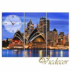Đồng hồ tranh Sydney về đêm 2 Vicdecor DHT0785 (40cm x 80cm x 3 tấm)