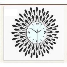 Đồng hồ treo tường hình tròn đính đá cao cấp 60x60cm (đen) – (BQ240-DEN60X60CM)