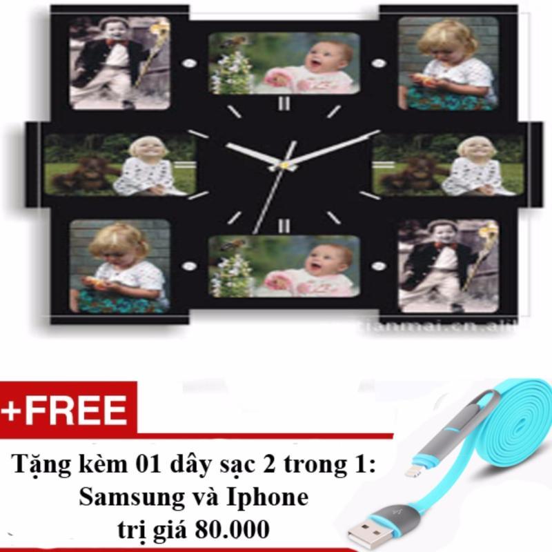 Nơi bán Đồng hồ treo tường khung ảnh + Tặng 01 dây sạc điện thoại 2 trong 1 cho Iphone và Samsun