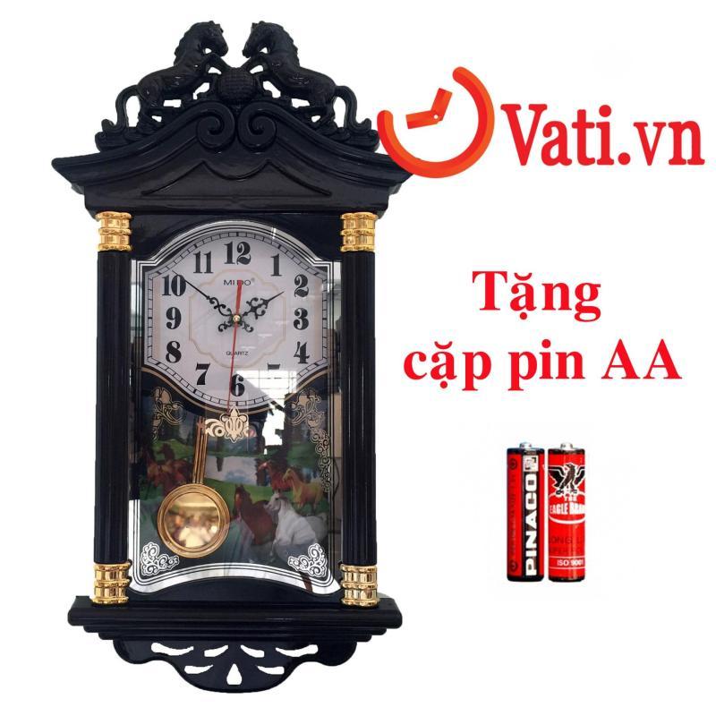 Nơi bán Đồng hồ treo tường quả lắc hình con ngựa F19 ( nâu đỏ) tặng kèm 1 cặp pin AA