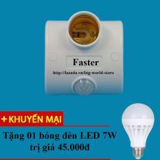 Đui đèn cảm ứng chuyển động cao cấp Faster (Trắng) + Tặng bóng đèn LED 7W