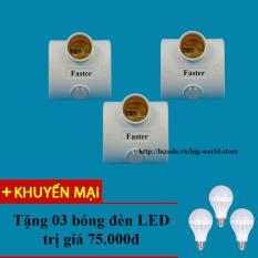 Bảng Báo Giá Đui đèn cảm ứng hồng ngoại Faster 3 chiếc (Trắng) + Tặng bóng đèn LED