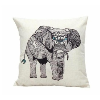 Ethnic Style Elephant Pattern Backseat Cushion Pillowcase Cotton Linen Square Pillow Car Decor - intl