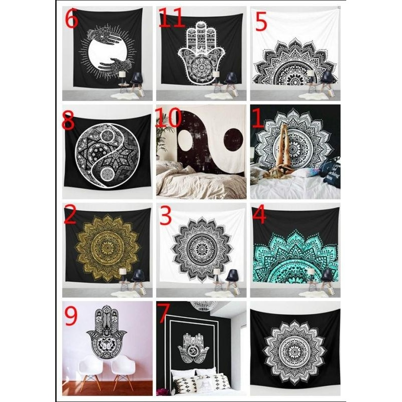 Fantastic Flower Brand New Hippie Tapestry Beach Towel For Wall Decoration Tapestry Bohemia Boho Wall Hanging Yoga Mat Mandala Tapestry 12 styles-As the picture 1 - intl