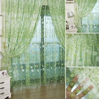 Fashion Flower Chiffon Curtains for Living Room the Bedroom Sheer Curtains Tulle Window Curtains Fabric Drapes - Green - intl