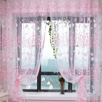 Fashion Flower Chiffon Curtains for Living Room the Bedroom Sheer Curtains Tulle Window Curtains Fabric Drapes - Pink - intl