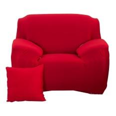 Thời trang Nắp Trượt Co Giãn Màu Nguyên Chất Ghế Sofa Đệm (Đỏ)-1 ghế ngồi-quốc tế