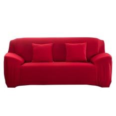 Thời trang Nắp Trượt Co Giãn Màu Nguyên Chất Ghế Sofa Đệm (Đỏ)-3 chỗ ngồi-quốc tế