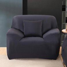 Thời trang Nắp Trượt Co Giãn Màu Nguyên Chất Ghế Sofa Đệm Có (Ghế Màu Đen)-quốc tế