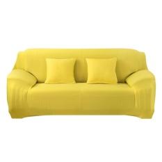 Thời trang Nắp Trượt Co Giãn Màu Nguyên Chất Ghế Sofa Đệm (Vàng)-3 chỗ ngồi-quốc tế