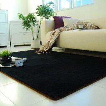 ... Fluffy Anti-Skid Shaggy Area Rug Yoga Carpet Home Bedroom Floordining Room Mat Black ...