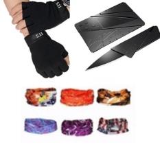 Găng hở ngón 511 đen + khăn phượt màu ngẫu nhiên + Dao ATM