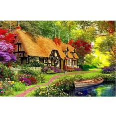 Tranh thêu trang trí thủ công 5D hình ngôi nhà vườn quê (mũi thêu hình X)