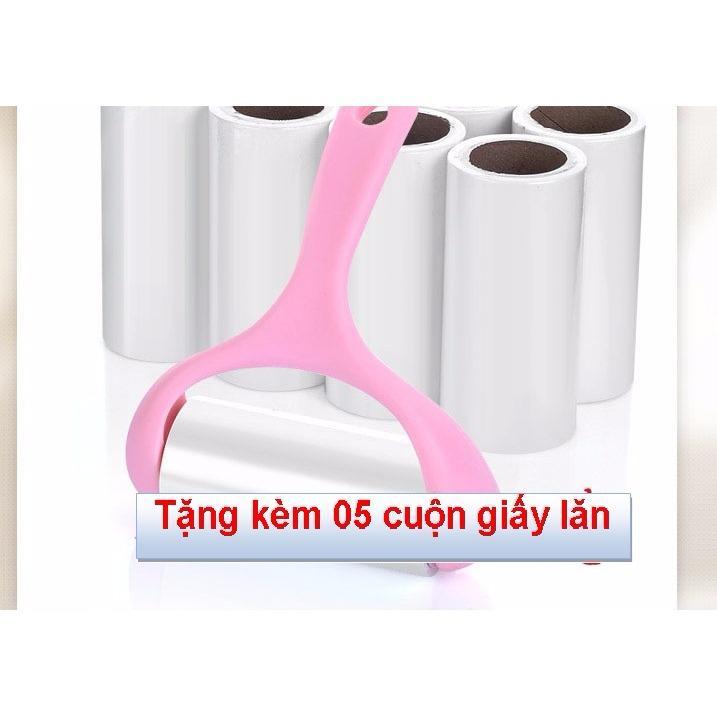 Gậy lăn làm sạch bụi bẩn trên quần áo, ghế đệm… + tặng kèm 5 lõi giấy lăn