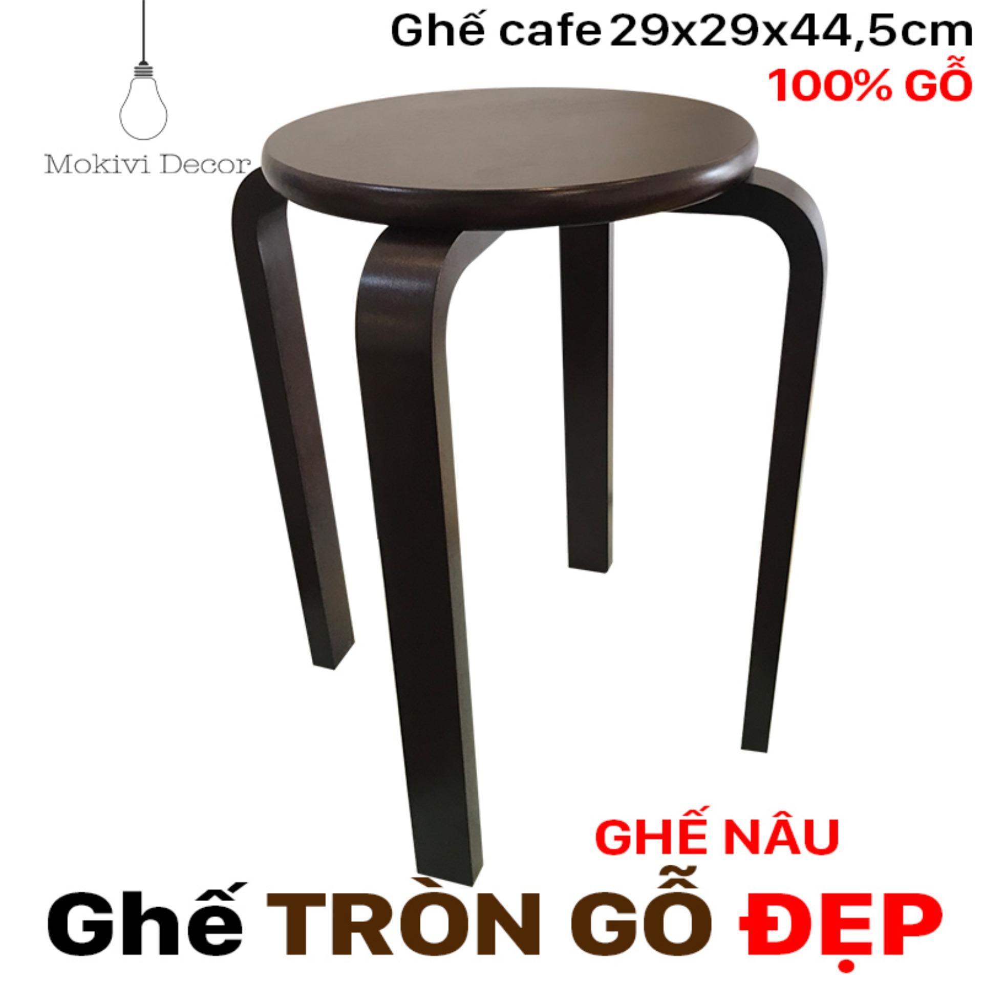 Ghế gỗ tròn chân dẹp (NÂU) – ghế tròn 29cm cao 44,5cm – ghế phòng ăn, ghế cafe gỗ PHONG CÁCH