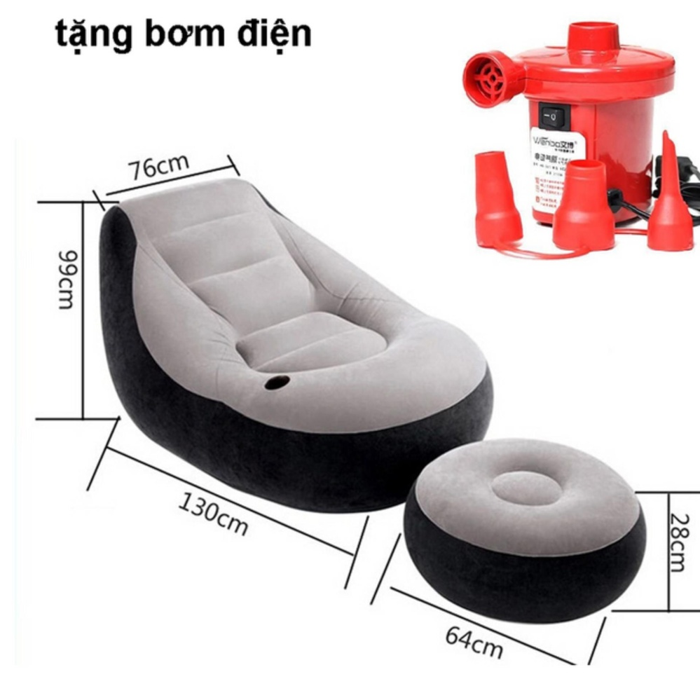 Ghế hơi tựa lưng Intex 2 chi tiết cao cấp kèm bơm điện 2 chiều (Đỏ)